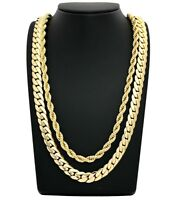 MENS MIAMI CUBAN LINK CHAIN & ROPE CHAIN 2Pcs Set 14K GOLD PLATED NECKLACE