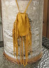 "Native American Medicine Bag Gold 4 1/2""x3"" William Lattie Cherokee Cert Aut"