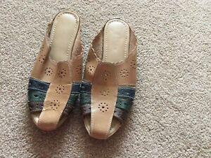 Ladies Multi Coloured Slip On Backless Sandal/shoes UK 5 Eur 38 NEW