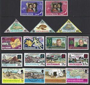 ASCENSION 1972/77 Commemorative Sets (9) + 2 Miniature Sheets CTO