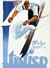 ART PRINT POSTER TRAVEL TOURISM WINTER SPORT SKI SPEED ITALY SNOW NOFL1280