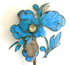 Large Qing Dynasty Kingfisher feather Hair Pin Antique VINTAGE Chinese 19th