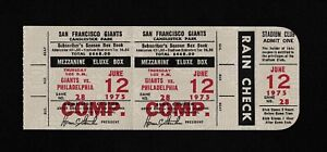 1975 Steve Carlton Win #139 Full ticket stub comp San Francisco Giants Phillies