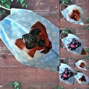 BLUE PAW PRINT Face Mask, Double Layer BULLDOG  PUG STAFFY ROTTY 80 Dog designs