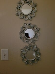 5 Piece Wall Mirror Set With Silver Decorative Frames