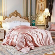 Solid Color Duvet Cover Ice Silk Satin Fabric King Size Quilt Cover Bedding