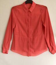 Forcast Womens Shirt 10 Orange Long Sleeve Sheer Button Down Shirt