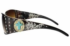 Womans Sunglasses Rhinestone Turquoise Cross Gold Concho Tort Frame Brown Lens