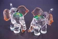 2 Tiny Glass ELEPHANTS Curio Display Decorative Miniature Animal Glass Ornaments