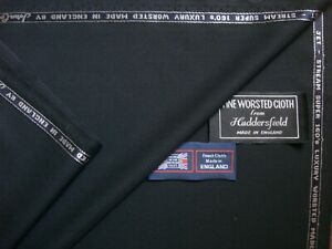 """John Cooper SUPER 160's WOOL SUITING FABRIC IN """"Black"""" MADE IN ENGLAND = 3.3 m."""