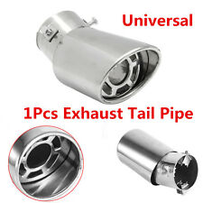 1x 61mm Bent Chrome Round Stainless Steel Car Rear Exhaust Pipe Tail Muffler Tip