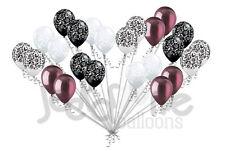 24 pc Elegant Damask Black White Clear Burgundy Latex Balloons Party Decoration