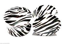 "PAIR-Zebra Acrylic Double Flare Plugs 16mm/5/8"" Gauge Body Jewelry"