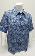 $155 Nat Nast Mens Shirt Size Large SS Silk Cotton Blue Paisley Button Down