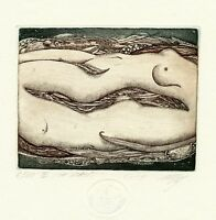 """""""Adam & Eve"""" Nude, Limited Edition Ex libris Etching by Maria Noble, Germany"""