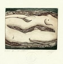 """Adam & Eve"" Nude, Limited Edition Ex libris Etching by Maria Noble, Germany"