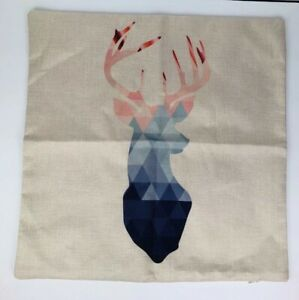 Pillow Cover Deer Buck Antlers Gradient Color 17x17 Farmhouse Rustic Chic