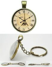 Eiffel Tower  Clock - Antique Bronze Tone Photo Glass Dome Key Ring