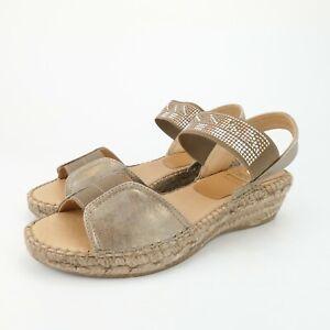 KANNA Tea Beaded Espadrille Wedge Slingback Sandals Leather Size 37 EUR 6