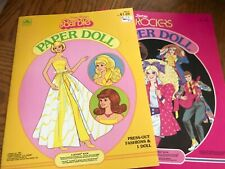 Uncut Golden paper doll book lot Pretty Changes Barbie and Barbie and the Rocker
