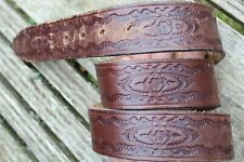 DISTRESSED TOOLED LEATHER WESTERN BELT SIZE 32-34