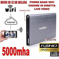 POWER BANK WIFI 3G + MICRO SD 32 GB MICROSPIA TELECAMERA NASCOSTA 1920x1080P HD