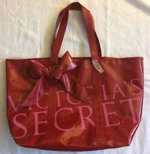 Victorias Secret XL Black Friday Sexy Red Bow PVC Tote Shopper Bag 21x13 NWT NEW