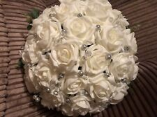 Wedding Flowers Bride  Large Ivory & Silver & Clear Bead Spray Posy Bouquet