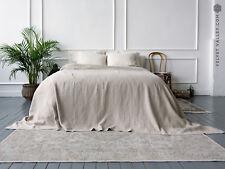 LINEN BEDSPREAD. King size bedspread soft textured, rustic style linen