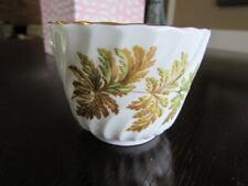 John Aynsley England Mini Open Sugar Bowl Swirled Brown Green Ferns C1190 C1191