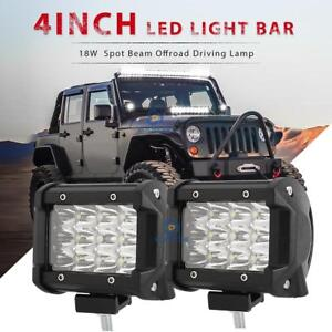 Pair 4 INCH 36W TRI-ROW  LED WORK LIGHT BAR SPOT MOTORCYCLE OFFROAD FOR JEEP
