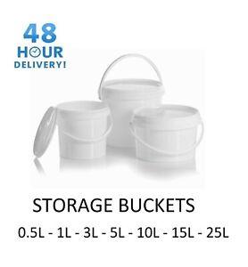 Plastic Buckets Tubs White Containers Tamper Evident Lids 0.5L 1L 3L 5L 10L 25L