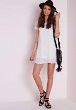 MISSGUIDED Floral Lace Shoulder T Shirt Dress in White UK 12 US 8 EUR 40