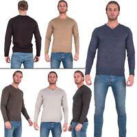 Mens Light Knitted V Neck Jumper Sweater Jersey Long Sleeve Brave Soul Quazar