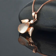 Rose Gold Plated Angel Pendant Necklace Jewelry Bright Pink lotus stone Gift