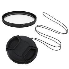 82mm UV Filter & Universal Centre Pinch Snap On Lens Cap + Keeper UK Seller