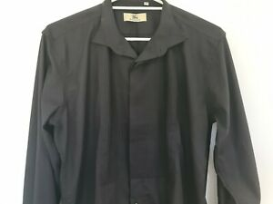 Burberry Mens Button Up Plus Size 2XL Long Sleeve French Cuff Dress Shirt Black