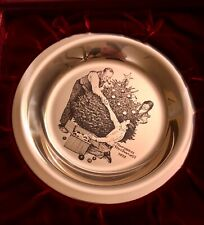 1973 Franklin Mint Sterling Silver Trimming the Tree Plate by Norman Rockwell