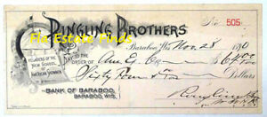 Ringling Brothers Baraboo Wis. Canceled Check Signed by Otto Ringling 1890