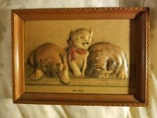 """Vintage Rsised Fabric Picture/Puppies & Kitten """"Susie"""""""