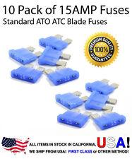 Premium 10 Pack 15 AMP AutomotiveATO ATC Standard Blade Fuses 15A
