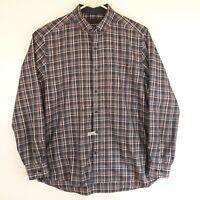Johnston & Murphy Mens Size L Button Down Long Sleeve Dress Shirt Plaid Mint