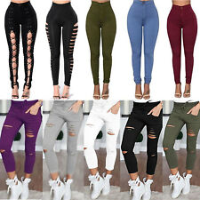 WOMEN HIGH WAISTED STRETCHY SKINNY JEANS RIPPED LADIES JEGGINGS PANTS TROUSERS