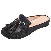 JENN ARDOR Women's Tassel Mule Shoes Backless Slipper Slip On Loafer Flats Shoes