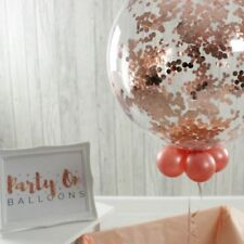 ROSE GOLD Confetti Balloons Clear Jumbo Birthday Wedding Hen Party 3ft 36 ""