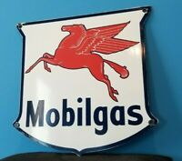 VINTAGE MOBIL GASOLINE PORCELAIN GAS SERVICE STATION PUMP PEGASUS MOTOR OIL SIGN