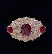 Antico ART DECO, Ruby & 1ct anello di diamanti Cluster in 18ct & Platino