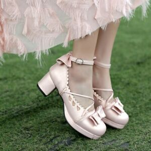 New Womens Mary Jane High Heels Slingback Causal Pump Party Dress Lady Bow Shoes