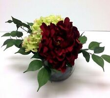 Peony and Hydrangea  Floral Arrangement Crystal Vase - Design by Susie
