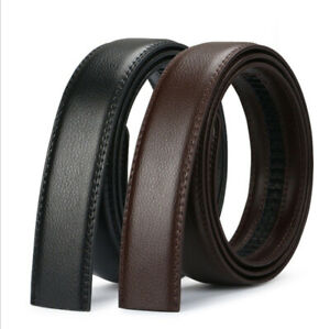Mens Leather Belt Strap Ratchet Automatic Waistband No Buckle only Strap New